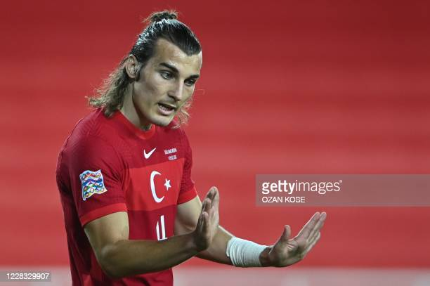 Turkey's defender Caglar Soyuncu reacts during the UEFA Nations League football match between Turkey and Hungary at Sivas 4 Eylul stadium in Sivas,...