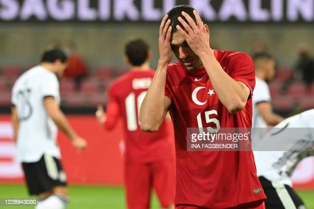 Turkey's defender Merih Demiral reacts during the international friendly football match between Germany and Turkey in Cologne, western Germany, on...