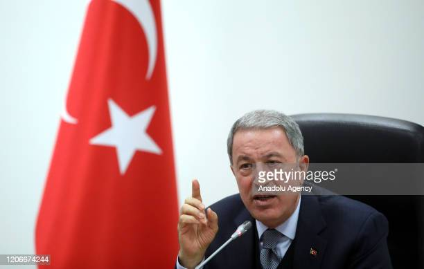 Turkeyâs Defense Minister Hulusi Akar, accompanied by Chief of General Staff Gen. Yasar Guler, Land Forces Commander Gen. Umit Dundar and Air Forces...