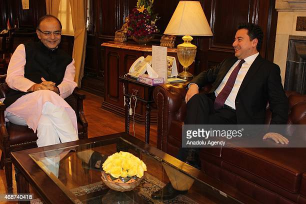 Turkey's Deputy Prime Minister Ali Babacan and India's Minister of Finance Arun Jaitley meet in New Delhi India on April 06 2015