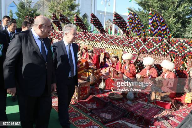 Turkey's Deputy Prime Minister Tugrul Turkes attends the ceremony of Annual Turkmen Racing Horse Festival at Equestrian Sports Complex and Hippodrome...