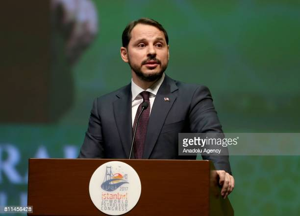 Turkey's Energy and Natural Resources Minister Berat Albayrak delivers a speech during the Dewhurst Award Ceremony within the 22nd World Petroleum...