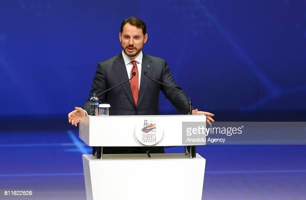 Turkey's Energy and Natural Resources Minister Berat Albayrak delivers a speech during 22nd World Petroleum Congress the largest meeting of oil and...