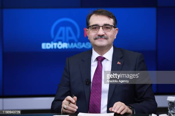 Turkey's Energy and Natural Resources Minister Fatih Donmez gestures as he attends Anadolu Agency's Editors Desk in Ankara, Turkey on January 16,...