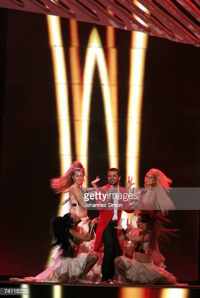 Turkey's entry to the Eurovision Song Contest 2007 Kenan Dogulu performs on stage during a dress rehearsal for the semi Final on May 9 2007 in...