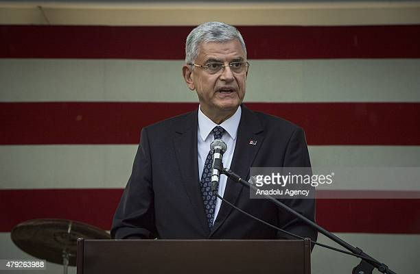 Turkey's EU Minister Volkan Bozkir attends a reception given for the 239th anniversary of US independence at United States ambassador to Ankara John...