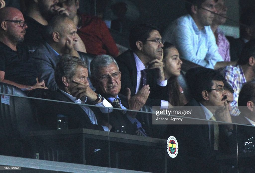 Turkey's EU Minister Volkan Bozkir (L 2) seen ahead of the UEFA Champions League 3rd qualifying round match between Fenerbahce and Shakhtar Donetsk at Fenerbahce Sukru Saracoglu in Istanbul, Turkey, on July 28, 2015.