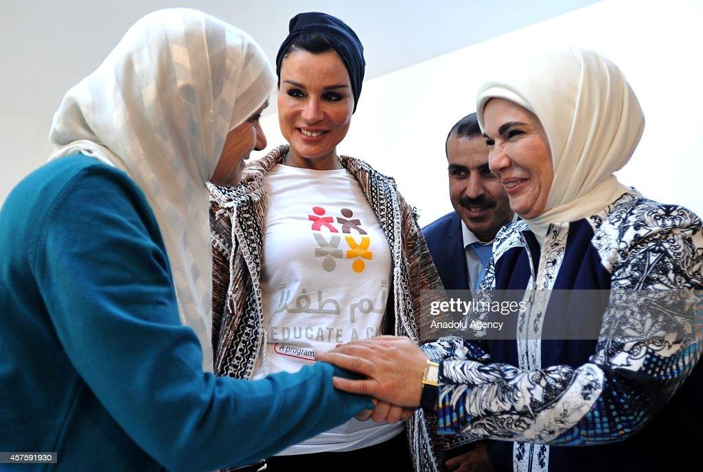 Qatar Emir's mother Sheikha Mozah and Turkey's First Lady Emine Erdogan visit Syrian refugees : News Photo
