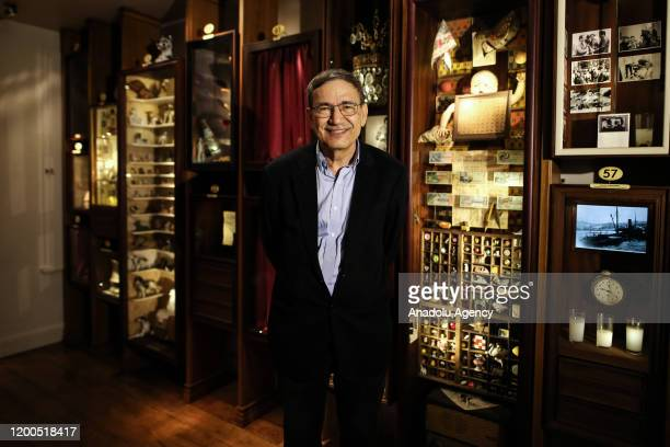 Turkey's first Nobel laureate Orhan Pamuk poses during an exclusive interview with Anadolu Agency in Istanbul Turkey on February 12 2020 Pamuk spoke...