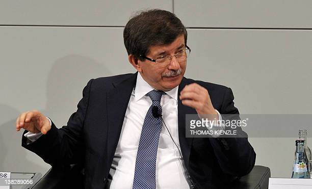 Turkey's Foreign Minister Ahmet Davutoglu speaks during the 48th Munich Security Conference at the Bayerischer Hof hotel in Munich southern Germany...