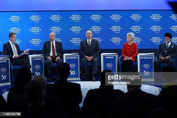 Turkey's Foreign Minister Mevlut Cavusoglu , Jordanian Prime Minister Omar Razzaz , Omani Foreign Minister Yusuf Bin Alawi Bin Abdullah , Woodrow...