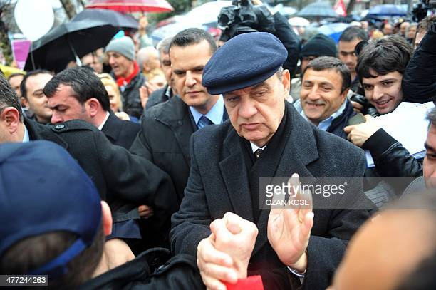 Turkey's former army chief Ilker Basbug arrives on March 8 2014 at Besiktas in Istanbul to attend a 'Silence Scream ' gathering organized by...