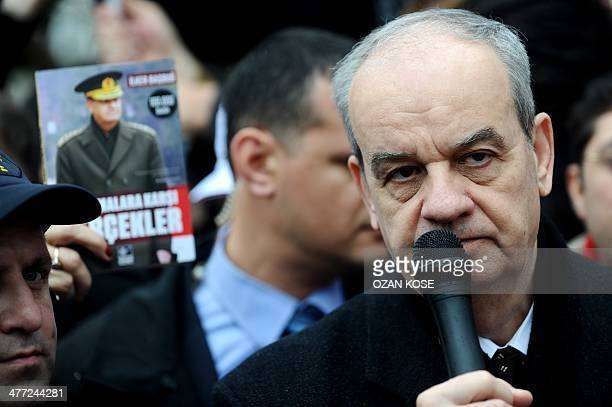 Turkey's former army chief Ilker Basbug gives a speech on March 8 2014 at Besiktas in Istanbul during a 'Silence Scream ' gathering organized by...