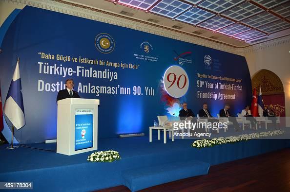 Turkey's former President Abdullah Gul delivers a speech