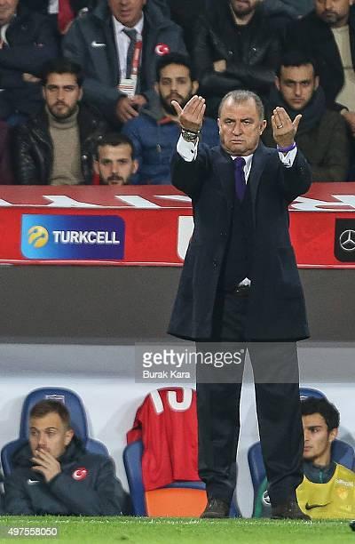 Turkey's head coach Fatih Terim reacts during an international friendly soccer match between Greece and Turkey November 17 2015 in Istanbul Turkey