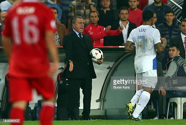 Turkey's head coach Fatih Terim shows his anger during FIFA 2014 World Cup Qualifier match at the Sukru Saracoglu Stadium on October 15 2013 in...