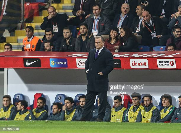 Turkey's head coach Fatih Terim watches the international friendly soccer match between Greece and Turkey November 17 2015 in Istanbul Turkey