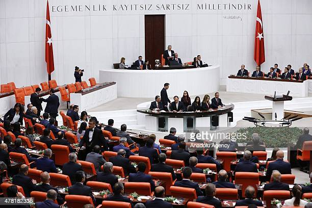 Turkey's interim Parliamentary speaker Deniz Baykal delivers a speech at the Grand National Assembly of Turkey before the Turkish parliament's 25th...