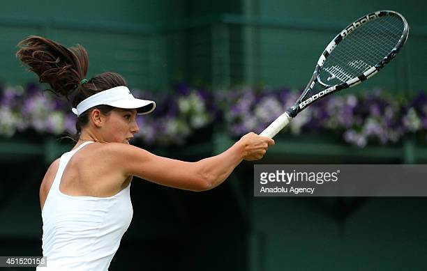 Turkey's Ipek Soylu returns the ball during her Ladies' Singles first round match against Jodie Anna Burrage during the 2014 Wimbledon Championships...