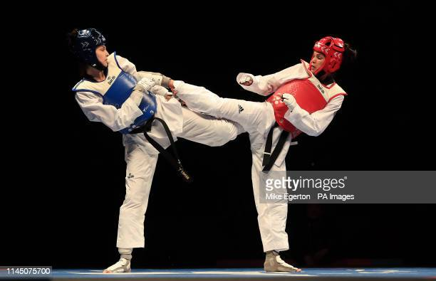 Turkey's Irem Yaman competes against Brazil's Caroline Santos in the Final of the Womens 62kg during Day 5 of the World Taekwondo Championships at...