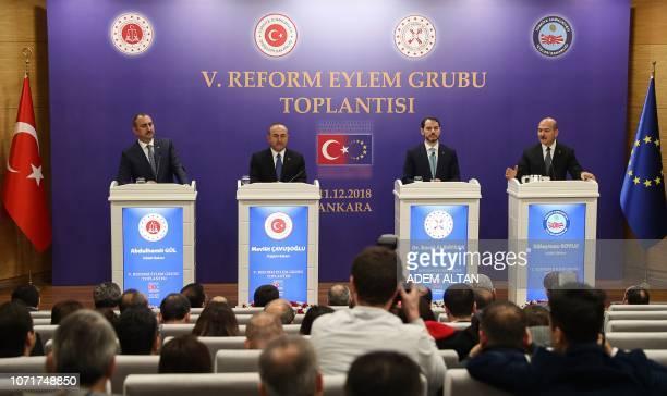 Turkey's Justice Minister Abdulhamit Gul Turkey's Foreign Minister Mevlut Cavusoglu Turkey's Treasury and Finance Minister Berat Albayrak and...