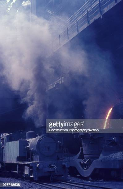 Turkey's Karabuk steel works on Tuesday 10th August 1976 with Bagnall 080T No 4401 standing alongside molten waste being loaded into a laddle wagon