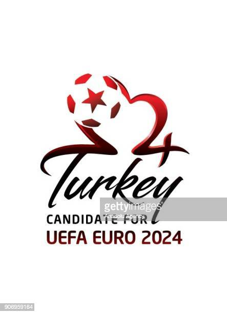 Turkey's logo for the 2024 UEFA European Football Championship is seen during a publicity meeting at Hasan Dogan National Team Camp and Training...