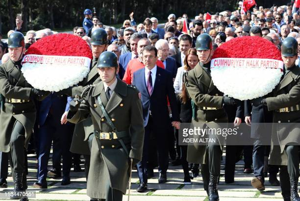 Turkey's main opposition party CHP candidate who claimed victory as Istanbul mayor Ekrem Imamoglu arrives on April 2 2019 to lay flowers at the...