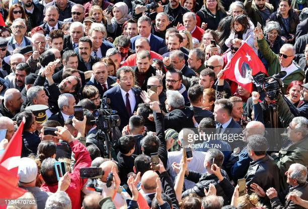 Turkey's main opposition party CHP candidate who claimed victory as Istanbul mayor Ekrem Imamoglu visits with his relatives and supporters on April 2...