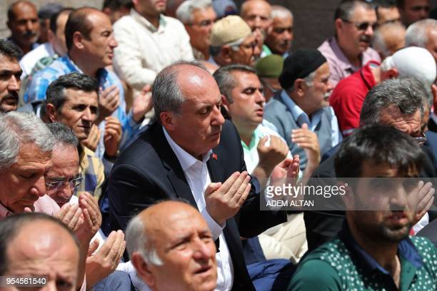 Turkey's main opposition Republican People's Party candidate for the upcoming snap presidential election Muharrem Ince attends friday's prayers in...