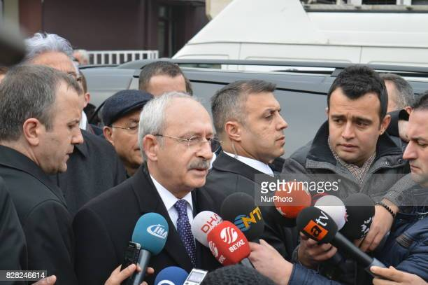 Turkey's main opposition Republican People's Party leader Kemal Kilicdaroglu can be seen during a press statement in Ankara Turkey on January 24 2017