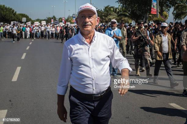 Turkey's main opposition Republican People's Party leader Kemal Kilicdaroglu leads thousands of supporters in the final kilometers of the 'Justice...