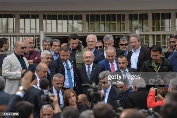 Turkey's main opposition Republican People's Party leader Kemal Kilicdaroglu leaves the polling station in Ankara April 16 2017 Turkey Millions of...