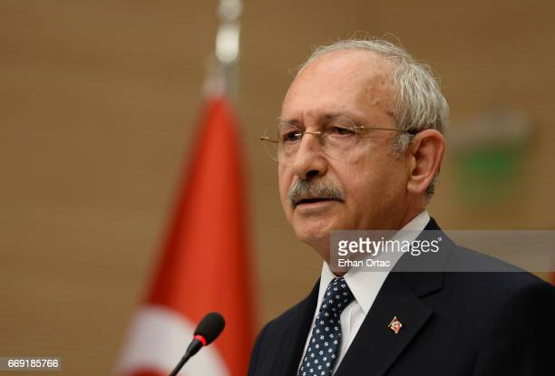 Turkey's main opposition Republican People's Party leader Kemal Kilicdaroglu speaks during a news conference on April 16 2017 in Ankara Turkey...