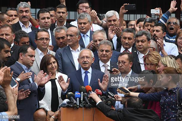 Turkeys main opposition Republican People's Party leader Kemal Kilicdaroglu adresses to supporters after casting his vote at a polling station June 7...