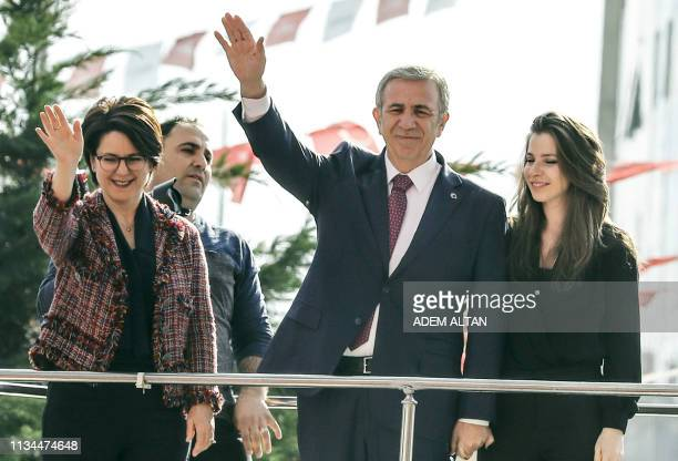 Turkey's main opposition Republican People's Party Mansur Yavas who claims mayoral elections victory in Ankara greets supporters on April 2 2019 in...