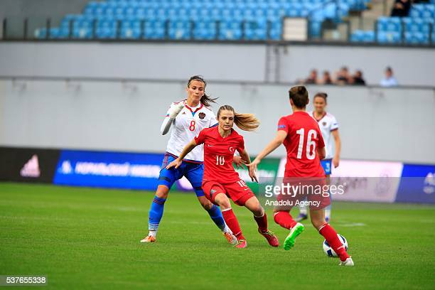 Turkey's Melike Pekel and Russia's Daria Makarenko vie for the ball during the UEFA Women's Euro 2017 Qualifying group stage Group 5 match between...