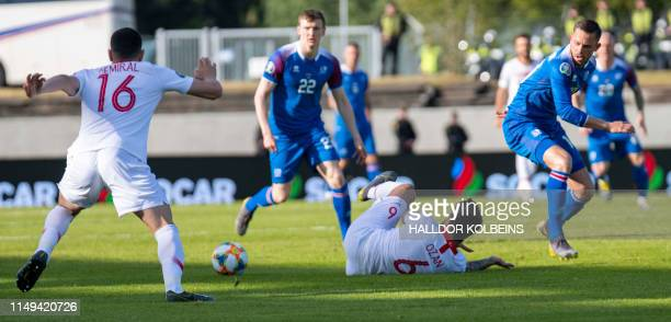 Turkey's Merih Demiral and Ozan Tufan vie for the ball with Iceland's Iceland's forward Jon Bodvarsson during the UEFA Euro 2020 qualifier Group H...