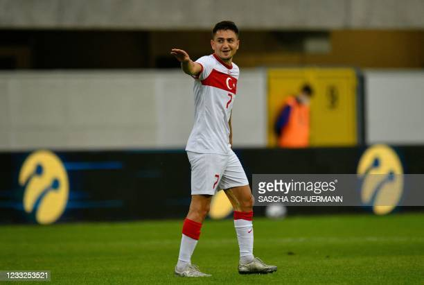 Turkey's midfielder Cengiz Under celebrates scoring the 2-0 during the friendly football match Turkey vs Moldova in Paderborn, western Germany on...