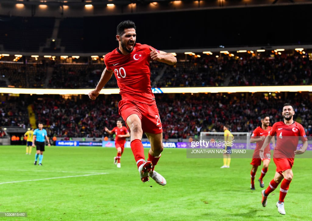 Turkey's midfielder Emre Akbaba celebrates after scoring a goal during the UEFA Nations League football match between Sweden and Turkey at the Friends Arena in Solna, on the outskirts of Stockholm, on September 10, 2018.