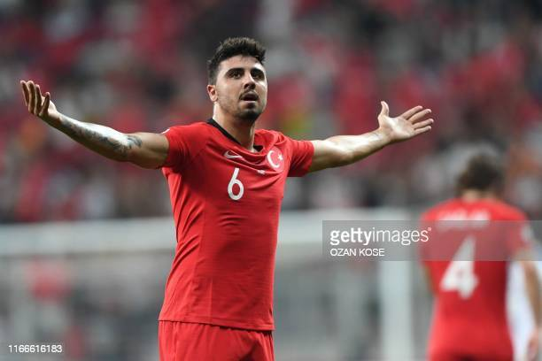 Turkey's midfielder Ozan Turan celebrates after scoring during the UEFA Euro 2020 qualifying Group H football match between Turkey and Andorra at the...