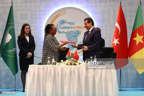 Turkey's Minister of Food Agriculture and Livestock Minister Faruk Celik and Minister of Agriculture of Guinea Jacqueline M Sultan sign a cooperation...