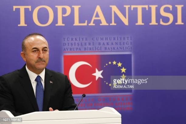 Turkey's Minister of Foreign Affairs Mevlut Cavusoglu looks on during a joint press conference with Turkey's Treasury and Finance Minister Justice...