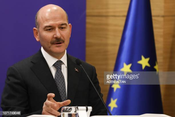 Turkey's minister of Interior Suleyman Soylu gestures as he speaks during a joint press conference with Turkey's Foreign Minister Treasury and...