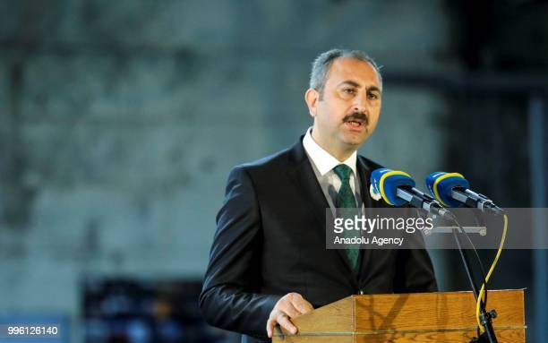 Turkey's Minister of Justice Abdulhamit Gul delivers a speech during a ceremony to mark the 23rd anniversary of the 1995 Srebrenica massacre in the...