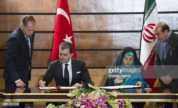 Turkey's Minister of Tourism and Culture Omer Celik and Vice President of Iran and head of Environmental Protection Organization Masoumeh Ebtekar...