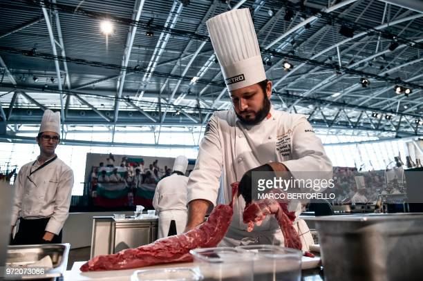 Turkey's Mutlu Sevket competes during the event of the Bocuse d'Or Europe 2018 International culinary competition on June 12 2018 in Turin