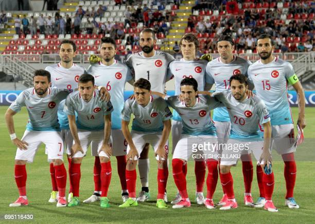 Turkey's National football team pose prior the FIFA World Cup 2018 qualification football match between Kosovo and Turkey in Loro Borici stadium in...