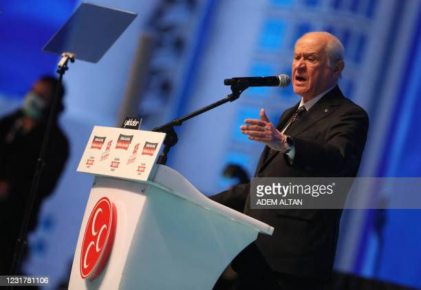 Turkey's Nationalist Movement Party Leader Devlet Bahceli delivers a speech during the party's 13th Ordinary Grand Congress in Ankara, on March 18,...