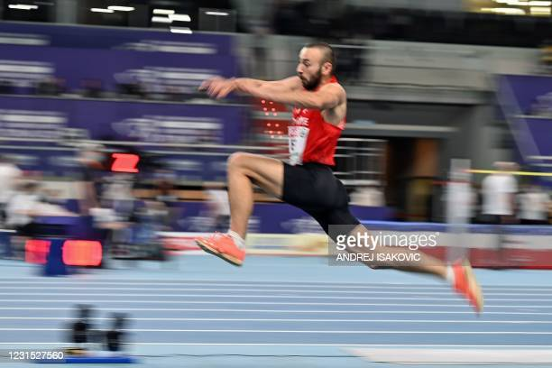 Turkey's Necati Er competes in the men's Triple Jump heats at the 2021 European Athletics Indoor Championships in Torun on March 5, 2021.